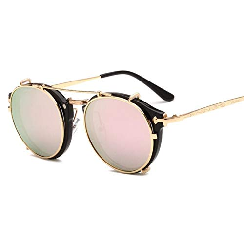 YLNJYJ Vintage Sonnenbrille Rund Designer Steam Punk Metall Oculos De Sol Damen Beschichtung Sonnenbrille Herren Retro Circle Sun Glasses