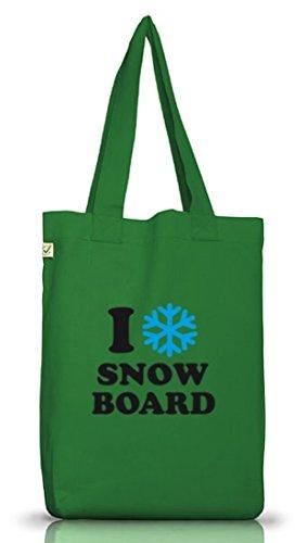Shirtstreet24, Adoro Lo Snowboard, Apres Ski Jutebeutel Stoff Tasche Earth Positivo (taglia Unica) Verde Muschio