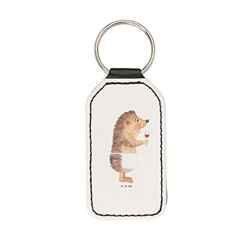 Mr. & Mrs. Panda Glücksbringer, Taschenanhänger, Rechteckig Schlüsselanhänger Igel mit Wein -...