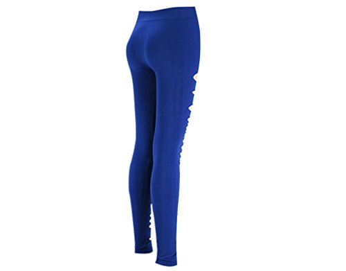 BONAMART ® Damen Punk Sexy Leggins Zerrissene Leggings Hose Cut Out mit Löchern, verschiedene Farben Royal Blue