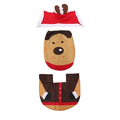 Copri Wc Babbo Natale.Footprintse 3 Pezzi Set Decorazioni Natalizie Per La Casa Elfo Cervo