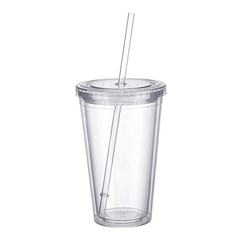 Lifemaison Trinkbecher Trinkflasche Kunsstoff mit Strohhalm Kunststoffbecher transparent stapelbar Kunststoffbecher mit Decke mehrzweg Partybecher