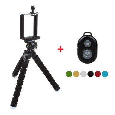 31Jl7HeDEqL - BEST BUY #1 xhorizon(TM)XH8 Flexible Mini Octopus Style Tripod Stand with Mount Holder for Smartphone, Camera, Webcam with Bluetooth Wireless Remote Shutter for iPhone Samsung and other IOS/Android Phone - Black Reviews and price compare uk