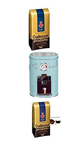 Lavazza Dallmayr Prodomo ganze Bohnen 500g + Kaffeedose neu 3 D Design weiß + 4 Gläser mit Henkel 200ml