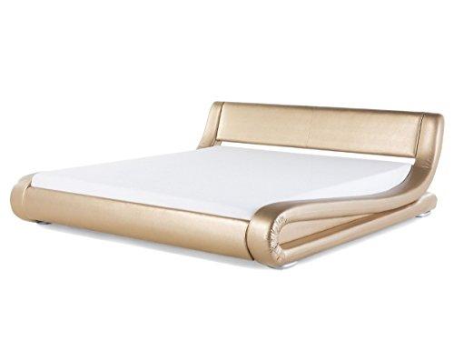 Designer Leder Bett Avignon mit Lattenrahmen Lattenrost Polsterbett GOLD wellenförmiges Lederbett modern gewelltes Bett Doppelbett günstig (180 x 200 cm) (180 x 200 cm) -