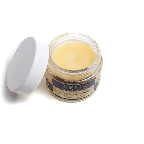 myrto-naturalcosmetics - Bio Argan Haar-Wachs | flexibler Halt mit glänzendem Finish ✔ Styling mit Repair Komplex ✔ gegen Spliss ✔ ohne Silikone ✔ Naturkosmetik ✔ Glastiegel - 50 ml