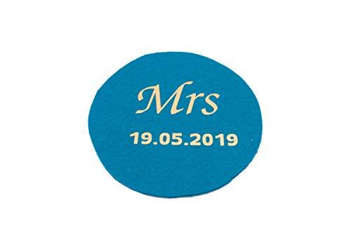 Untersetzer Filz - Mr Mrs - Hochzeit individuell auf Wunsch mit Namen und Datum