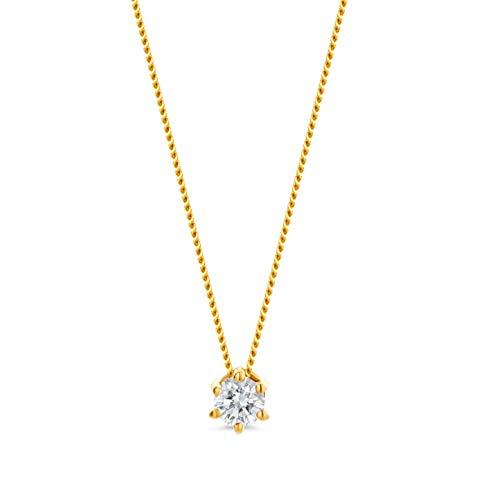 Orovi Damen Kette Gelbgold 0.10 Ct Diamant Halskette mit Anhänger Solitär Diamant Brillant 14 Karat (585) Gold, 45 cm Lang Halskette Handgemacht in Italien