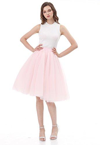 CoutureBridal® 5 Layer Knielanger Rock Elastic Bund Tutu Prinzessin Tüll Rosa EU32-34 (Tutu Prinzessin Rosa)