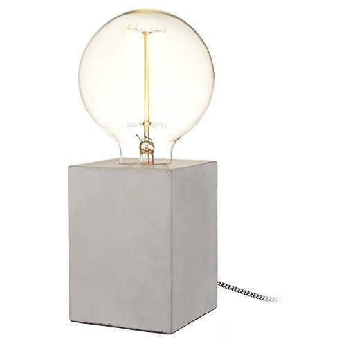 Design-Tischleuchte Cube Beton Cubus mit Textilkabel und großer Deko-Glühbirne (Ø 13cm)