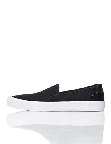 FIND Slipper Herren mit Strukturiertem Stoff und Rutschfester Sohle, Schwarz (Black), 41 EU (Leder-stretch-slipper)