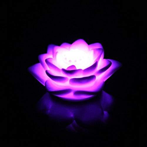 Uonlytech 10 stücke LED Lotus Nachtlicht Bunte Seerose Kerzen Laterne Blume Nachtlicht für Home Festival Party Pool Decor