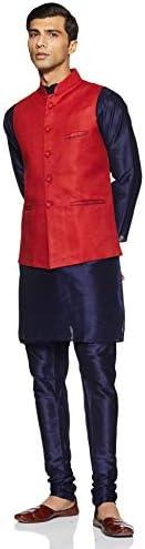 Clarzo Men's Banarasi Silk Regular Fit Chudidar Kurta Pajama Set with Waist