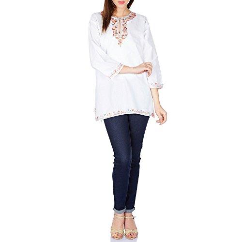 Freizeit-Kleider für Frauen Kurti Sommer Top weißer Baumwolle bestickt Pastelltönen Grösse m (Kurta Blauen Großen)