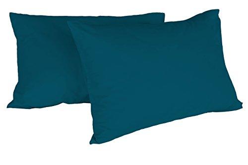 Italian Bed Linen Coppia Federe Max Color, Verde Petrolio, 52x82x1 cm