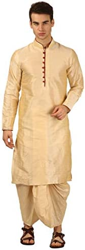 Devyom Men's Silk Straight Regular Fit Dhoti Kurta Set (G
