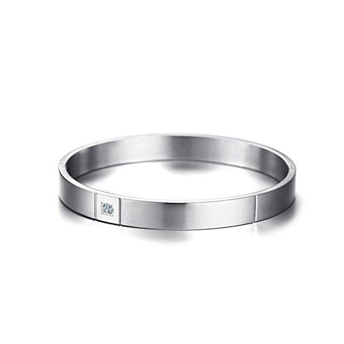 Yarmy Herren Armband Edelstahl einzigen Zirkon Verschluss Armband Herren Armbänder, Verwandte und Freunde senden Feriengeschenk für den lieben