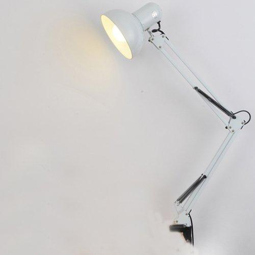E27-socket-clamp (JDYee Swing Arm Schreibtischlampen, Tischlampe, Regular E27 Socket, Clamp montiert, verstellbare Schreibtischleuchten für Wohnzimmer Studio Study Office Reading Coffe Schlafzimmer - Weiß)