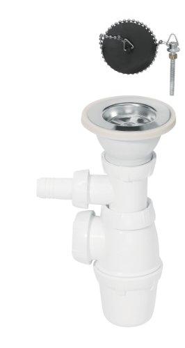 Wirquin SP3224Siphon + Ablaufgarnitur + Stöpsel an Kette + Waschmaschinenanschluss