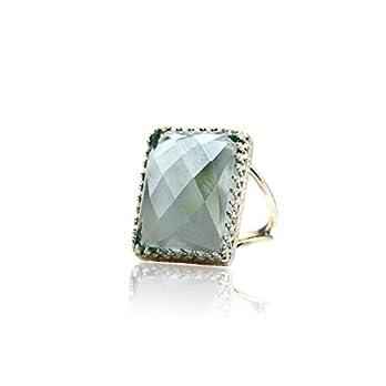 Anemone Jewelry 14CT November Geburtsstein-Ring – Rechteckiger Topaz-Ring in 925 Sterling Silber – Kunsthandwerklich…