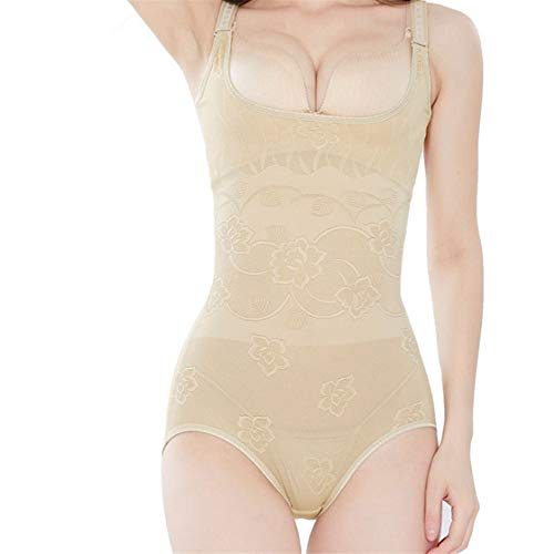 DAMENGXIANG Frauen Abnehmen Unterwäsche Bodysuit Bauch Korsett Körper Sculpting Unterwäsche Off Typ Korsetts Damen Shapewear Body Shaping Beige S -