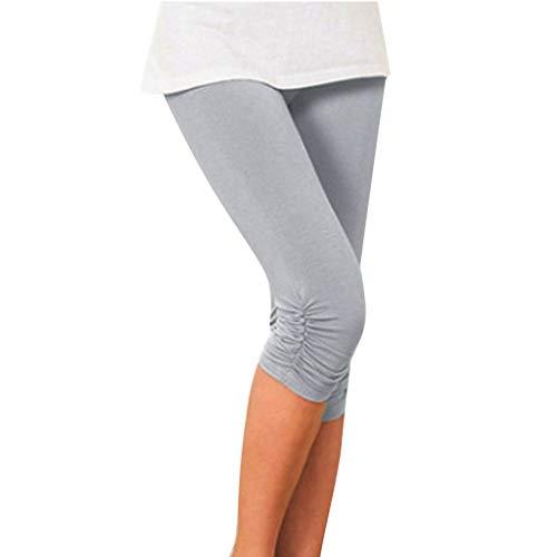 YUNMENG Dünne Yoga-Gamaschen für Frauen Sommer Breathable Bequeme Schenkel-dünner Beleg-Elastizität beschnittene gefaltete Hosen