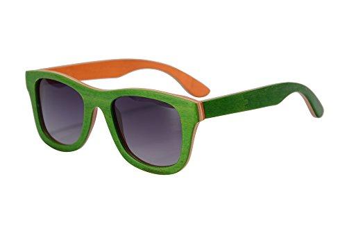 SHINU Holz Polarisierte Sonnenbrille Handmade SkateWood Sommer Brille UV400 Schutz Outdoor Sports Sonnenbrille-Z68004 (green-orange, gradient grey)