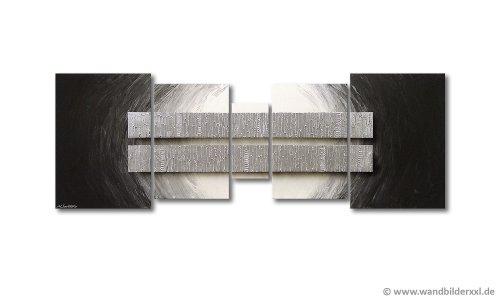 """WandbilderXXL® Handgemaltes Bild \""""Silver Blocs\"""" in 200x70x2cm fertig gespannt auf Holzkeilrahmen Moderne große Wandbilder Leinwandbilder Bilder Prime Wohnzimmer"""