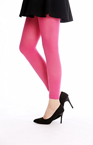 DRESS ME UP - W-014P-PINK Strumpfhose Leggings Pantyhose Damenkostüm Party Karneval Halloween blickdicht rosa pink dunkelrosa S/M (Miss Halloween-kostüm Piggy)