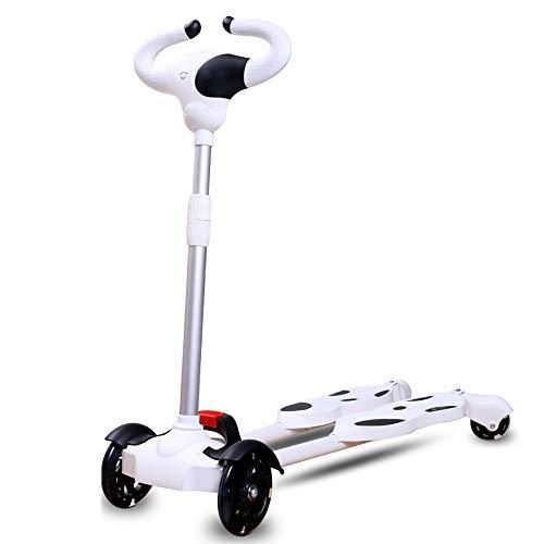 CHHMAELOVE Einstellbar Mini Roller,Klappbar Flatbar Scooter,Mini Roller Dreirad FüR Kinder,HöHenverstellbarer Kinder Scooter,Scissor Swing Scooter,Magnetic Luminescence RäDer Blinken,White