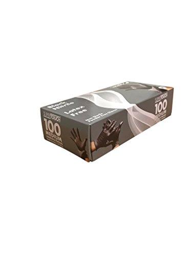 Supertouch® Black Nitrile Disposable Gloves Powder Free Tattoo Tattooist Valeting Mechanic (Medium, 1 Box (100 Gloves))