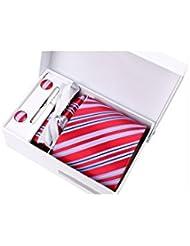Coffret Cadeau Brazzaville - Cravate rouge à larges rayures bleu ciel, fines rayures roses et bleu marine, boutons de manchette, pince à cravate, pochette de costume