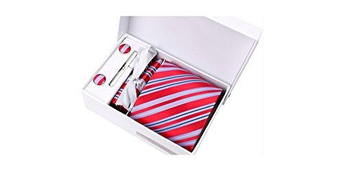 Coffret Brazzaville - Cravate rouge à larges rayures bleu ciel, fines rayures roses et bleu marine, boutons de manchette, pince à cravate, pochette de
