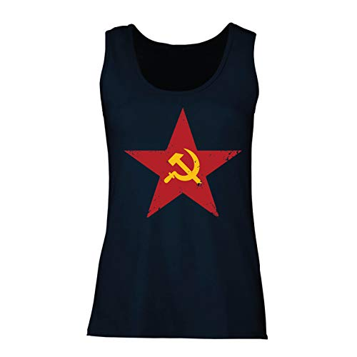 Demokrat Fitted T-shirt (lepni.me Damen Tank-Top URSS СССР Marteau et faucille, Symbole du prolétariat socialiste (Large Blau Mehrfarben))