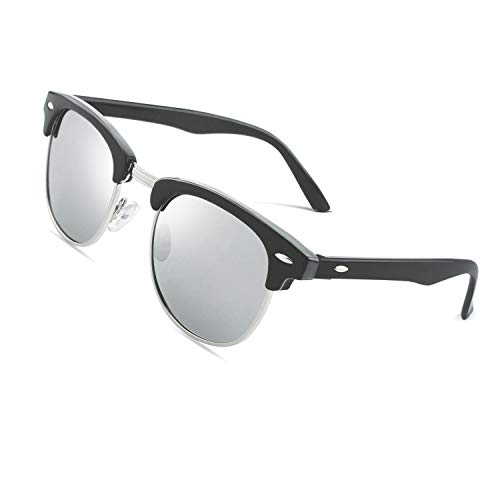 CGID MJ56 clubma Retro Vintage Sonnenbrille im angesagte 60er Browline-Style mit markantem Halbrahmen Sonnenbrille,Schwarzes-Silber
