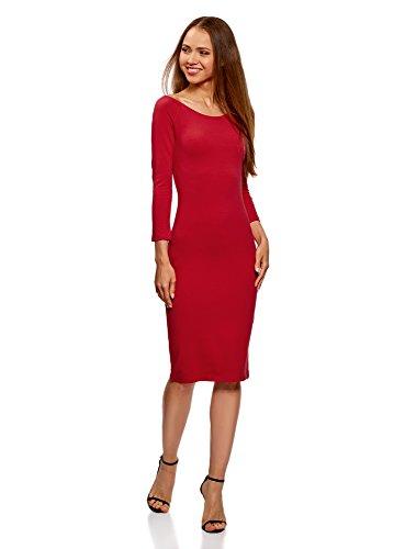 oodji Ultra Damen Enges Kleid mit U-Boot-Ausschnitt, Rot, DE 32/EU 34/XXS