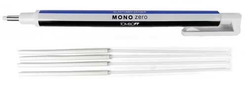 Tombow Mono Zero - Gomma di precisione con punta arrotondata a forma di penna con righe bianche e blu + 4 ricariche