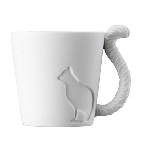 Tier Cat Mugtail Mug Katze Keramik Porzellan niedliche Tasse Becher für Kaffee/Tee/Espresso/Milch/Wasser-weiß Teelicht