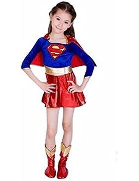 Vestido de traje de Halloween Día del Libro Supergirl super héroe de los niños de 10-12 años