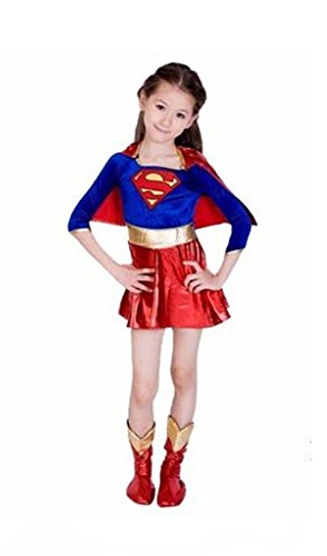 Kinder Supergirl Superheld-Buch-Tag Halloween-Kostüm-Kostüm-Ausstattung für 10-12 Jahre