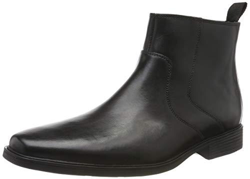 Clarks Herren Tilden Up Chelsea Boots, Schwarz (Black Leather Black Leather), 44 EU