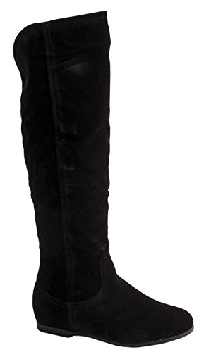 Elara Damen Stiefel   Warm Gefüttert   Bequeme Langschaft Boots   Flache Zipper BL195-HB-Black-37 -