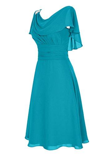 Dresstells, Robe de mère de mariée Robe de demoidelle d'honneur longueur au genou col ras du cou Corail