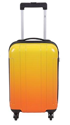 Handgepäcktrolley LUZERN Hartschalen Koffer Telescop Trolley Boardcase mit Zahlen-Schloss und 4 Leichtlaufrollen verschiedene Farben Farbe blau orange