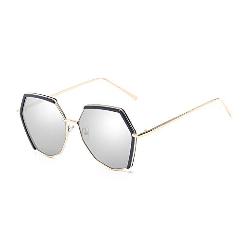 HBCELY Retro polarisierte Sonnenbrille Vintage Polygon Sonnenbrille für Frauen UV400-Schutz Metallrahmen Gläser für das Fahren im Freien Fischen Reisen,White