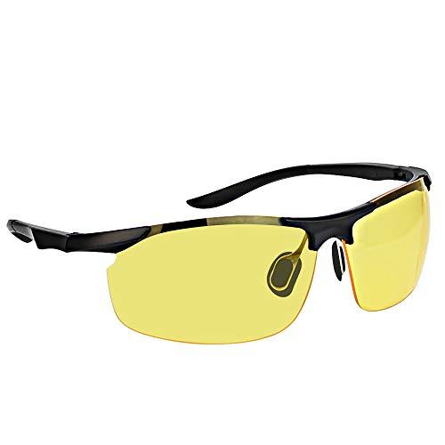 Kbnian Nachtsichtbrille HD Autofahren Nachtsicht Brille Polarisierte Linse Blendschutz Fahrbrille Unisex Nachtfahrbrille für Autofahren in der Nacht, Regen, Fahrradfahren, Trekking, Outdoor