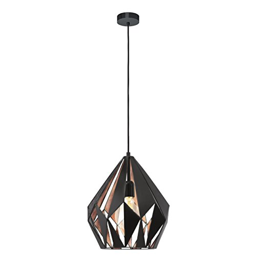 EGLO Hängeleuchte Carlton 1 Stahl Schwarz-Kupfer E27, 31 x 31 x 110 cm