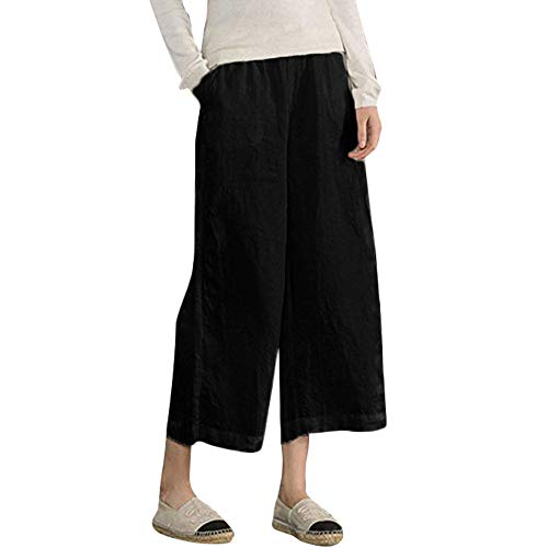 Anglewolf Women's Elastic Waist Casual Loose Trousers Cropped Wide Leg Pants Capris Sweatpants Underpants Jogger Jumpsuit Short Bell-Bottoms Oversize Active Leggings Playsuits