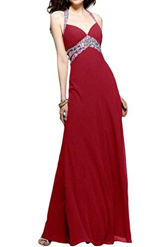 Toscane mariée chic rueckenfrei chiffon abendkleider de longueur fixe party ballkleider abendmode rouge bordeaux