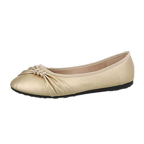 Ital-Design Damenschuhe Ballerinas Klassische Ballerinas Synthetik Gold Gr. - Gold Ballett Kostüm